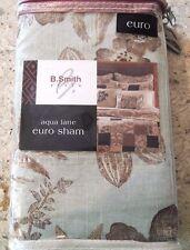 B. Smith Aqua Latte Quilted Euro Pillow Sham Brown Tan Aqua Floral Bird