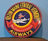 VINTAGE BOSTON MAINE AIRWAYS PORCELAIN GAS AVIATION AIRPLANE SERVICE SALES SIGN
