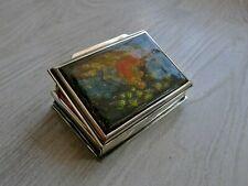 Rare Antique 19th ctr. Russian Kholui Manfacture Lacquer Sterling silver Box