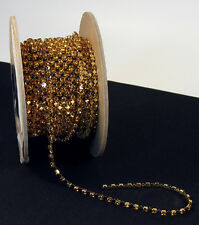3 FT Vintage Austrian Crystal Chain 3mm Topaz Gold Bar Lg Spacers Costume sew