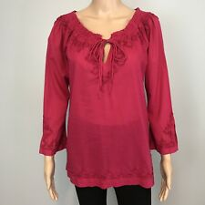 Women's Lucky Brand Pink 100% Cotton Tunic Blouse Top SZ S $150