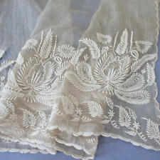 """Imperfect Antique Ecru Wide 21"""" Flounce Sheer Lawn Ornately Embroidered * Dolls"""