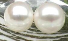 Genuine 14-15mm AAA+ white bread south sea pearl earring 14k solid yellow gold