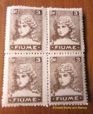 EBS Italy Italia 1919 Occupation Fiume 3 Cent BLOCK 4 MNH**