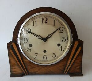 Vintage German Art Deco  Westminster Chiming Mantel Clock  F