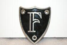NOS 1920's-1930's Monogram Full Size Metal Motometer Cap Shield Letter F Black