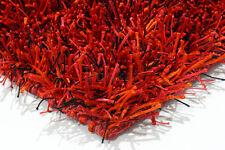 Rouge & orange flamme glamour shaggy moderne fait main tapis échantillon, taille: 15cmX15cm