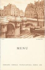 Ile-de France French Lines Dinner Menu 7/15/1953 Le Pont Neuf
