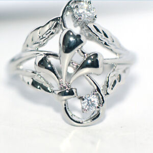 Vintage big womens silver ring filigree rings flower rings retro jewelry size 8