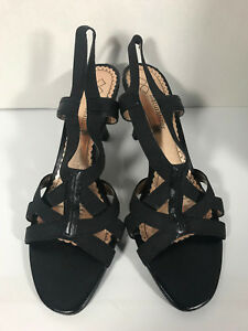 "Naturalizer Crowley Black 10 Narrow 10N Strappy Stretch Kitten Heel 3"" Sandals"