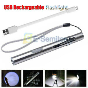 Super Bright Led USB Rechargeable Pen Pocket Torch Lamp