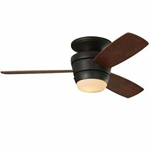 Mazon 44-in Oil-Rubbed bronze Integrated LED Indoor Flush Mount Ceiling Fan w...