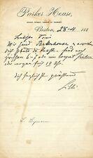 LILLI LEHMANN opera soprano autographed letter, Parker House, Boston 1880's