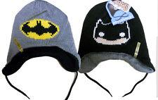 NWT DC Comics BATMAN Logo FUNKO blk & grey Reversible knit LAPLANDER BEANIE HAT