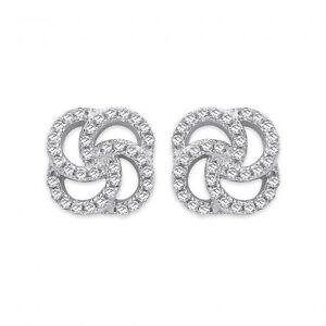 Sterling Silver CZ Swirl Stud Earrings, SER0493
