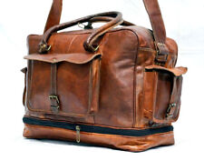 New Men's genuine Leather large vintage duffle travel gym weekend overnight bag