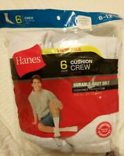 Hanes 6 Cushion Crew Durable Grey Sole Socks