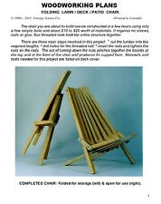 WOODWORKING PLANS - Outdoor/patio/deck chair. Folding lawn chair D-I-Y plans