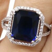 Sparkling Princess Blue Sapphire Ring Women Engagement Jewelry 14K White Gold