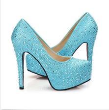 Rhinesto Crystal Sparkly Bridal High Heel Stiletto Wedding Bridesmaid Prom Shoes