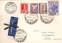 Greece, 1935 multifranked air mail postcard to Austria     -BN87