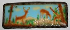 HANDCRAFTED LEATHER WALLET HANDTOOLED PAINTED WOODLAND SCENE DEER LACED NEW