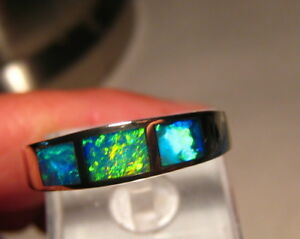 Electric  Green  Mens Opal Ring 14 kt white gold  size 10 3/4  or V