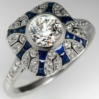 Estate 1930'S Art Deco 1.0 CT Diamond & Blue Sapphire Ring 14K White Gold Over