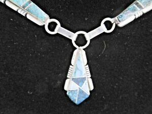 LOVELY SOLID 925 SILVER GEMSTONE NECKLACE TURQUOISE