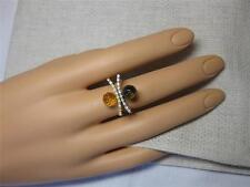 Citrine Diamond 18K Gold Ring Pair of Rings Topaz Modernist Estate Jewelry!