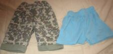 2 Pairs of Baby Shorts Blue 6-9 Months and Khaki 62cm