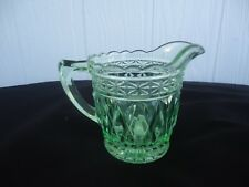 vintage  art deco depression green glass milk jug