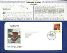Vanuatu 1998 Diana principessa del Galles FDC + info scheda pagina #V6560