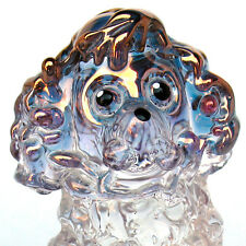 Poodle Pink Figurine Sculpture Blown Glass Gold Crystal