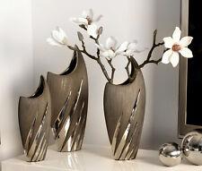 Vase Yucca Keramik grau-silber 36 cm (G43006)  Blumenvase Dekovase Innendeko