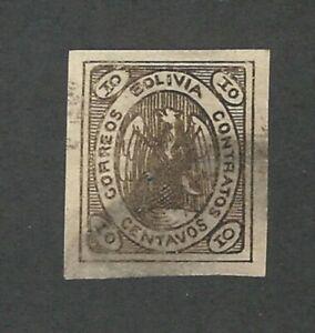Bolivia: 1867; Scott 4, 10c brown used, condor. LP29