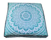 "35"" Green Ombre Mandala Square Floor Pillow Cover Ottoman Pouf Cotton Covers"