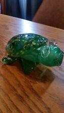 "New listing Hand Blown Art Glass Green Sea Turtle Figurine 6""Long."