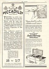 1917 ANTIQUE PRINT - ADVERTS- PICCADILLY CIGARETTES, THE VALET AUTOSTROP RAZOR