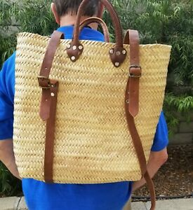 Straw Beach Bag-Backpack-Farmers' Market Basket w/ Leather Straps & Handle