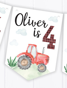 Personalised Tractor Happy Birthday Bunting, Children's Party Banner - Any Age