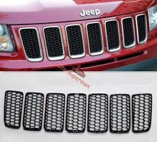 Black Front Honey-Comb Grille vent Mesh Bezel Cover trims jeep compass 2011-17