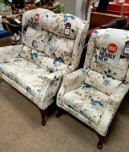 HSL Floral Pattern Fabric 2 Piece Suite 2+1 Wingback Sofa & Armchair - CIS BA5