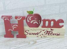 Home Sweet Home Freestanding Plaque Wooden Block Cream Red Apple 37cm SG1322