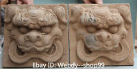 Antique China Pottery Fengshui Guardion Foo Fu Dog Door Lion Handle Knocker Pair