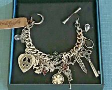 LUCKY BRAND Limited Edition Guitar Pick Feather Chain Key Cross Charm Bracelet