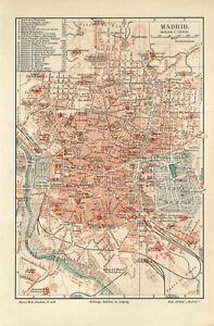 1895 SPAIN MADRID CITY PLAN Antique Map