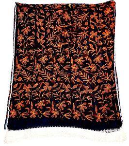 Indiansanskriti Chiffon Black Punjabi Dupatta Hand Stitch Embroidery Stole Scarf