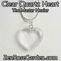 """Clear Quartz Small Heart Necklace, Crystal Heart Pendant Necklace 18"""""""