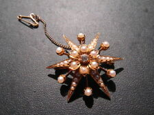Q135 Ladies 18ct gold fresh water pearls and Diamond star brooch